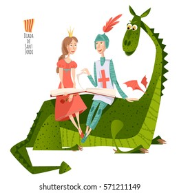 Princess and knight read a book sitting on a back of a dragon.Diada de Sant Jordi ( Saint George's Day). Dia de la rosa (Day of the Rose). Dia del llibre (Day of the Book). Vector illustration.