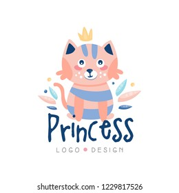 Princess logo design, emblem with cute cat can be used for kids club, baby shop, kids market, kindergarten and any other children projects vector Illustration