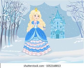 Princess in magic winter fairy kingdom