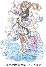 Princess moon vector illustration. Design for tattoo, bag, pillow cover, t-shirt, wall decoration, book, poster and packaging.