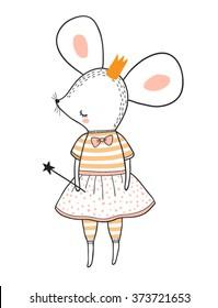 princess mouse vector illustration