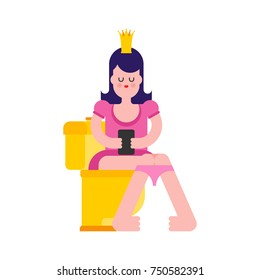 Princess on toilet. Woman is in WC. Sweet girl with crown. Vector illustration