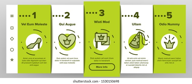Princess Onboarding Mobile App Page Screen Vector Icons Set Thin Line. Magic Castle And Princess Crown, Coach And Perfume Bottle, Ring And Mirror Linear Pictograms. Contour Illustrations