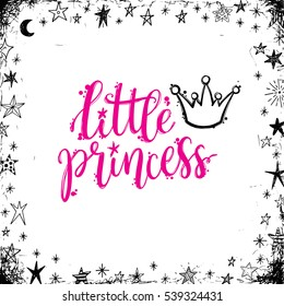 Princess party, calligraphic design, greeting card with a phrase little princess and a crown.