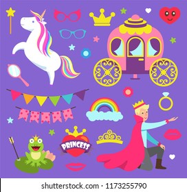 Princess party with unicorn \carriage for prince vector. Frog with arrow, decorative flags and ring, rainbow and glasses accessories, heart and crown