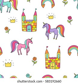 Princess pattern seamless vector colored