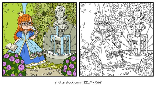 Princess with pen and diary for records in palace park with cupid pouring water from jug a fountain entwined with wild grapes and rose bushes color and outlined for coloring