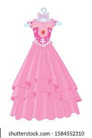 Princess pink ball gown. Vector illustration.