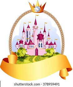 Princess pink castle frame with crown.