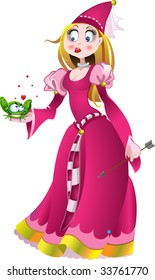 princess in pink with frog