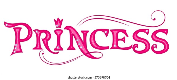 Princess pink title. Design element for girls.