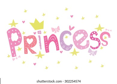 princess pink word with crown and stars greeting card postcard poster birthday invitation typography