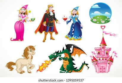 Princess, Prince charming, Fairy, castle, dragon and unicorn on fairy tale set isolated on a white background