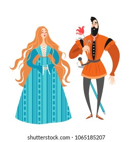 Princess and prince with a flower. Funny cartoon characters in historical costumes. A cute fairy couple on a white background