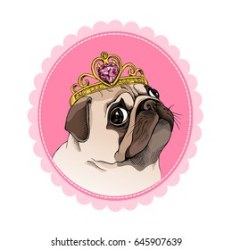 Princess Pug with a crown on a pink background. Portrait in a frame. Vector illustration.