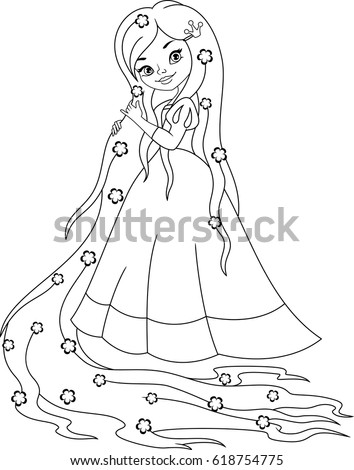 Princess Rapunzel Coloring Page Stock Vector Royalty Free