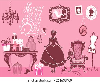Princess Room with glamour accessories, furniture, cages, gift boxes, pictures. Princess girl and dog - silhouettes on pink background. Handwritten text Happy Birthday. Holiday card for girls.
