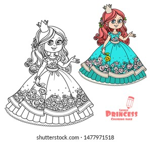 Princess with rose in hand color and outlined picture for coloring book on white background
