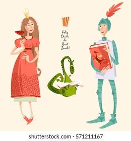Princess with a rose, knight with a book and dragon reading a book. Diada de Sant Jordi (Saint George's Day). Dia de la rosa (Day of the Rose). Dia del llibre (Day of the Book). Vector illustration.
