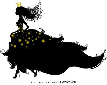 Princess runs, vector characters