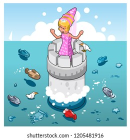 Princess screaming for help on tower in wide ocean with several fishes (vector illustration)