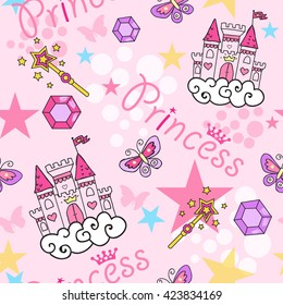 Princess Seamless Pattern for textile  with castle, crown, butterfly, stars, diamond. Abstract seamless pattern for girls.