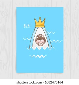 Princess shark, cute vector poster with a shark in a crown