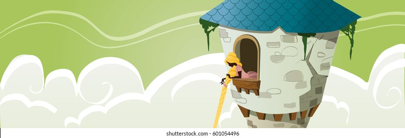 Princess shut away in a tower - Fairy Tale illustration