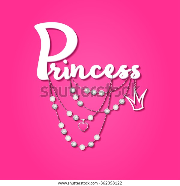 Princess Sign Birthday Card Jewelry Elementsprintable Stock Vector Royalty Free 362058122