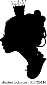 Princess Silhouette - Profile - Vector Art