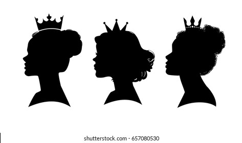 Princess silhouette. Women's elegant silhouettes with different hairstyles. Beautiful female face in profile. Vector