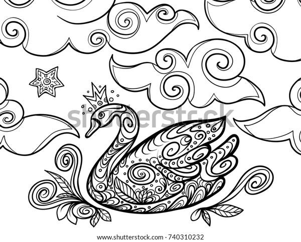 - Princess Swan Clouds Zentangle Coloring Book Stock Vector (Royalty Free)  740310232
