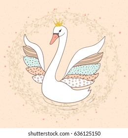 Princess swan doodle vector illustration.