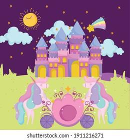 princess tale cartoon cute castle unicorn shooting star and sky vector illustration