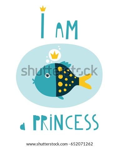 princess template cute girlfish cards tshirt のベクター画像素材
