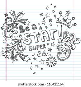 Princess Tiara Crown Vector- Be A Star Back to School Sketchy Notebook Doodles- Vector Illustration Design Elements on Lined Sketchbook Paper Background