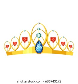 Princess tiara icon. cartoon illustration of princess tiara perfume vector icon for web