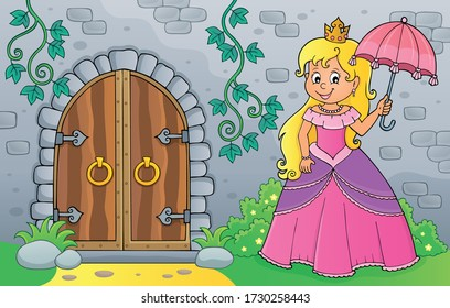 Princess with umbrella by old door - eps10 vector illustration.