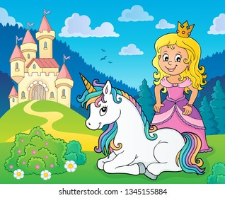 Princess and unicorn near castle theme 1 - eps10 vector illustration.