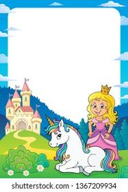 Princess and unicorn theme frame 1 - eps10 vector illustration.