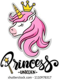 Princess unicorn , vector illustration