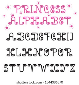 Princess vector alphabet font. Cute with curls English letters. For girls, for children, for mothers, for cards, albums,