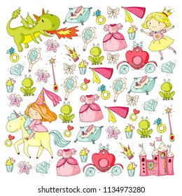 Princess vector patterns. Cute little princess with unicorn and dragon. Castle for little girl, dress, magic wand. Fairy tale icons with crown and frog. Fantasy illustrations