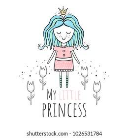 Princess. Watercolor vector illustration