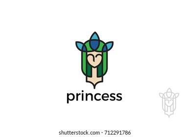 Princess Woman Girl Logo abstract design vector template Linear style. Beauty SPA Makeup Cosmetics Fashion Logotype concept icon.