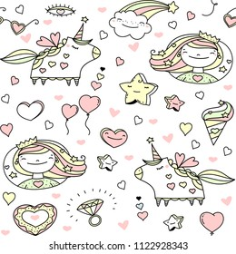 Princess world doodle cartoons kit. Vector clip art magic fairy tale icons. Seamless kids background.
