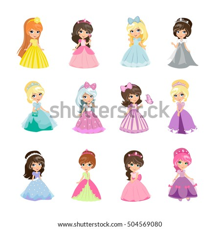 Princesses Girls Evening Gowns Isolated Elegant Image Vectorielle De