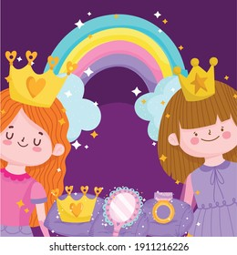 princesses tale cartoon with crown mirror rainbow and ring vector illustration
