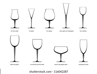 Principal kind of ware for drinks isolated on the white background