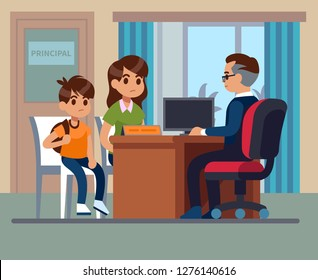 Principal school. Parents kids teacher meeting in office. Unhappy mom, son talk with angry principal. School education vector image